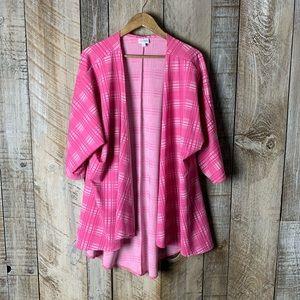 Lularoe Lindsay Pink Plaid Tartan Kimono Large